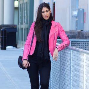 Blanknyc Pink Vegan Leather Moto Jacket